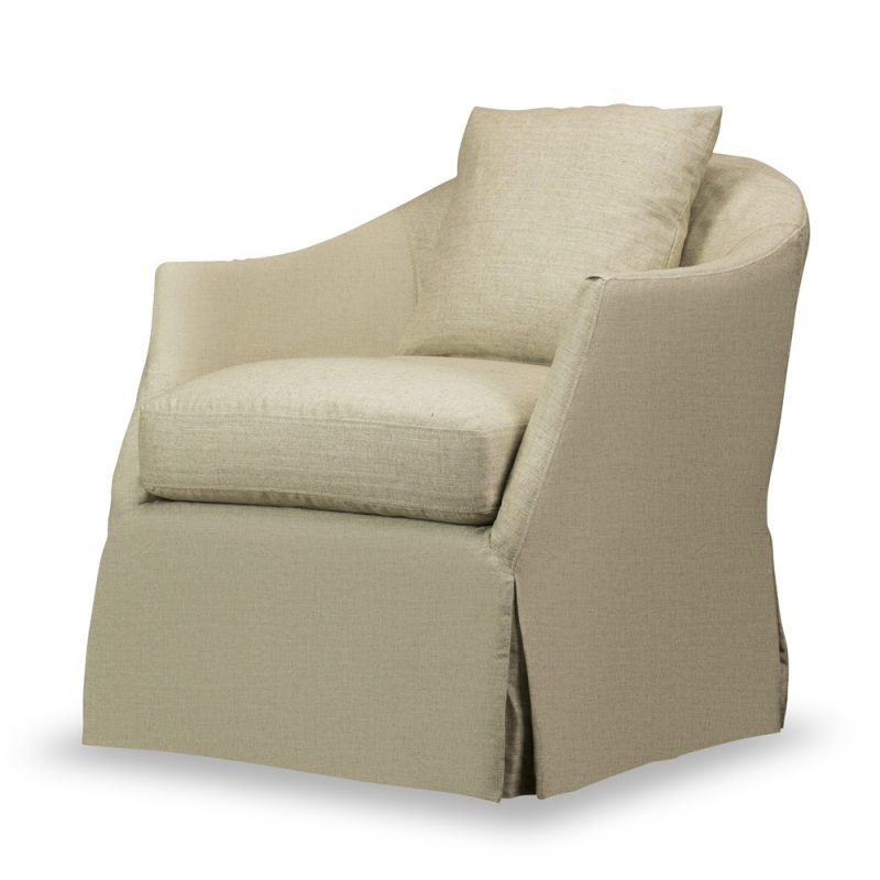 A feminine swivel chair with curves in all the right places is dressed like a lady in a slipcover for casual comfort and everyday elegance.