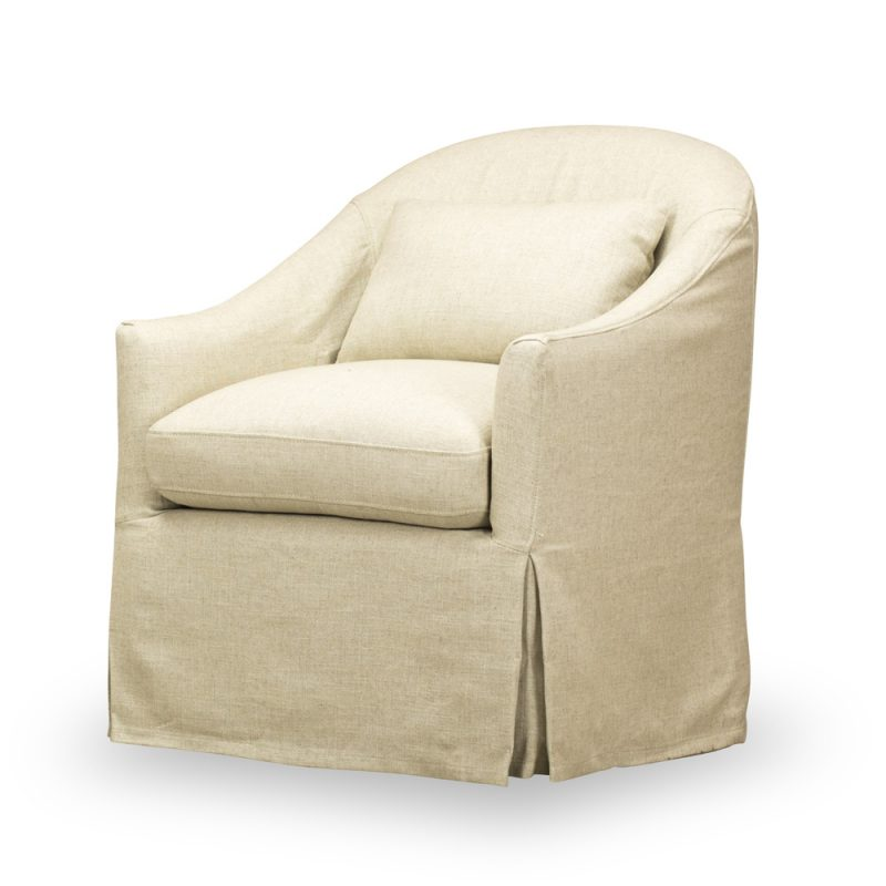 Becky Slipcovered Swivel Chair - Tribecca Natural