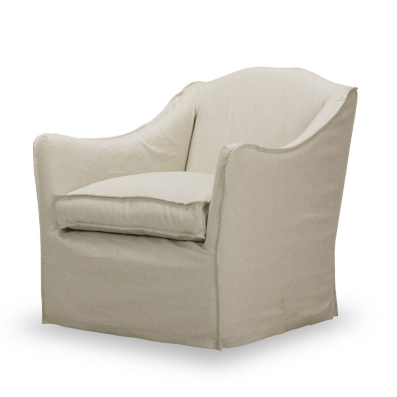 Keith Slipcovered Swivel Glider Chair - Milar Natural