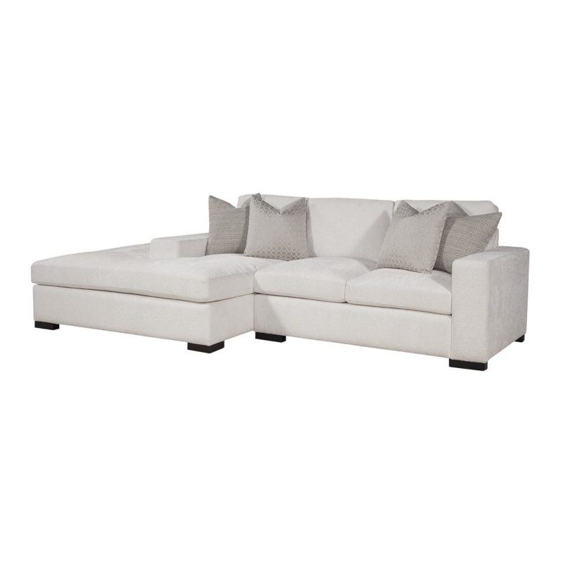 Newport Conversation Sectional LAF Bumper/RAF Loveseat in Gorgeous Canvas with Jackie O Gunmetal/Dax Silver Pillows