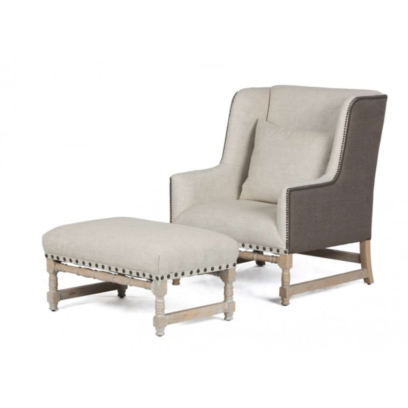 Luca Chair - Classic Linen (inside) with Brown Linen (outside)