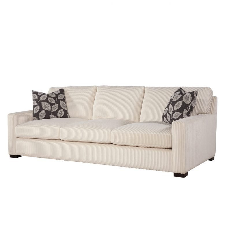 """Emerson 96"""" Sofa in Memphis Ivory with Adril Charcoal Pillows"""