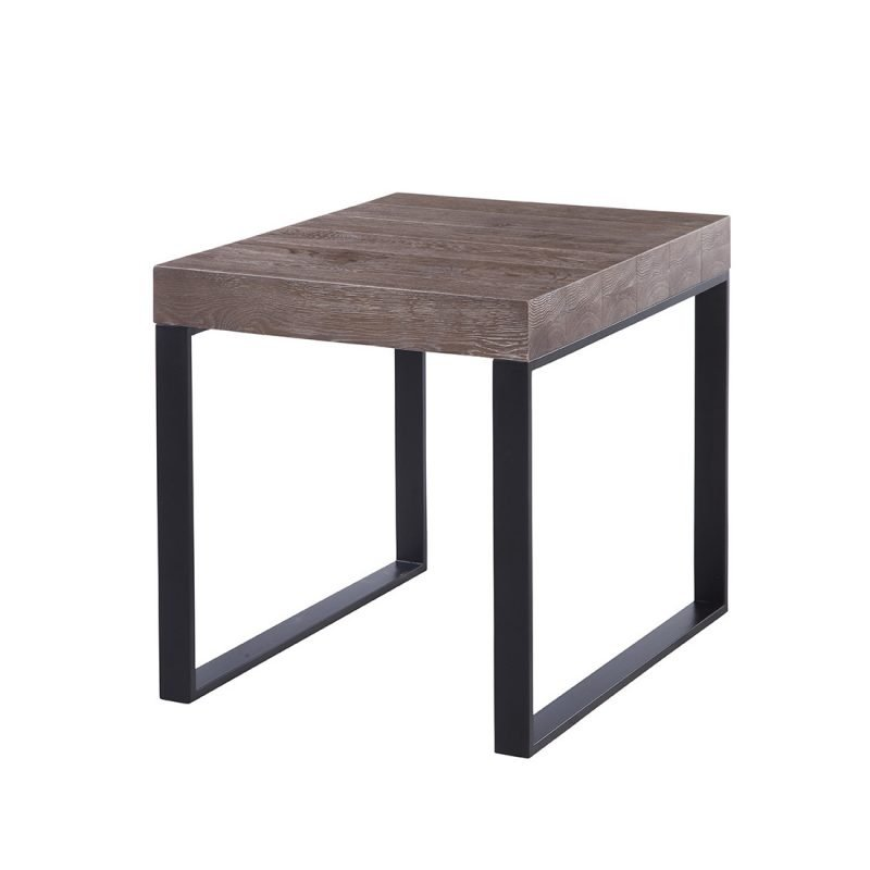 Marisposa End Table in Dark Brown and Matte Black