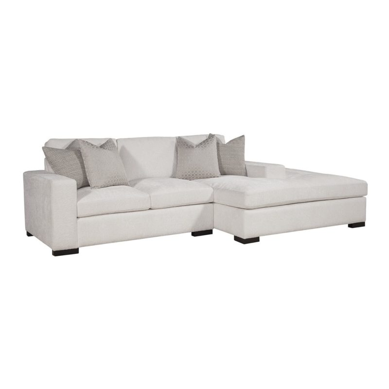 Newport Conversation Sectional RAF Bumper/LAF Loveseat in Gorgeous Canvas with Jackie O Gunmetal/Dax Silver Pillows