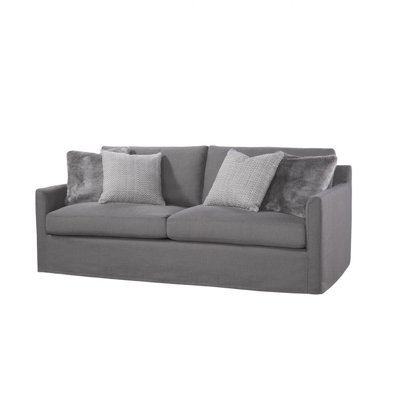 Santa Monica Slipcovered Sofa in Zorro Charcoal with Lynx Mushroom & Dresden Charcoal Pillows