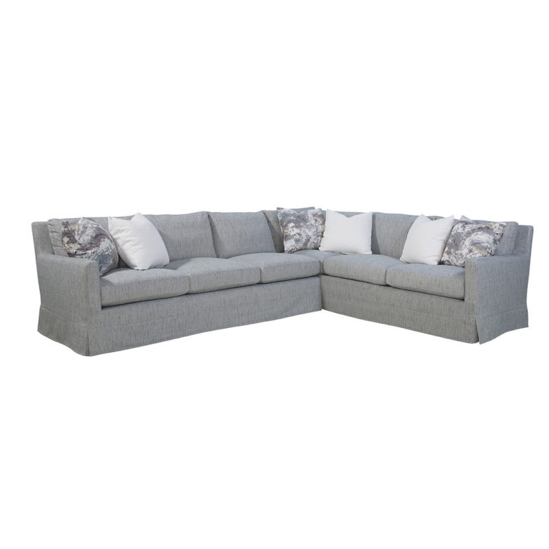Pasadena LAF Sofa in Tori Coastal with Indie Slate and Bergamo Vanilla Pillows