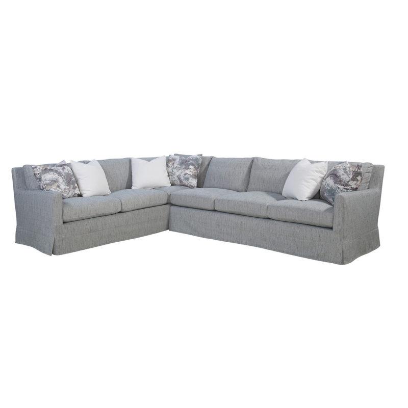 Pasadena LAF Corner Sofa in Tori Coastal with Indie Slate and Bergamo Vanilla Pillows