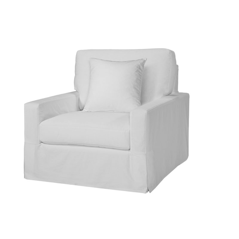 Peyton Slipcovered Swivel Chair in Genoa Artic