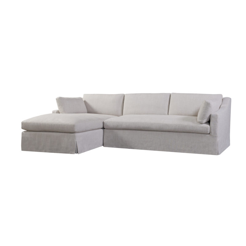 Dune Slipcovered LAF Chaise in Floris Linen